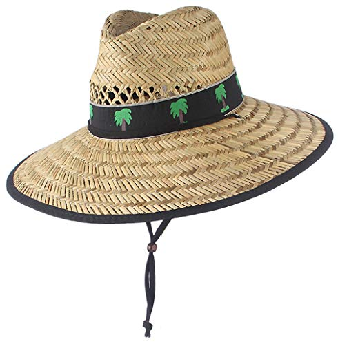 Men's Straw Sun Hat with Wide Brim Summer UPF Sun Protection Lifeguard Beach Hats for Women Men Outdoor Travelling/Fishing (Natural/Coconut Palm, 7 1/8)