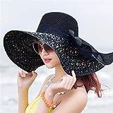 Sombrero Colorido con Lazo de Paja de ala Grande para Mujer,