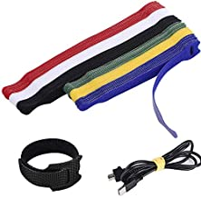 60PCS Reusable Cable Ties, Premium Adjustable Cable Straps Wire Ties, Cord Wrap Organizer Microfiber Hook Loop Cable Management - Assorted 2 Size and 6 Color