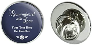 Personalized Custom 2 Line Remembered with Love Rose Memorial Metal 0.75
