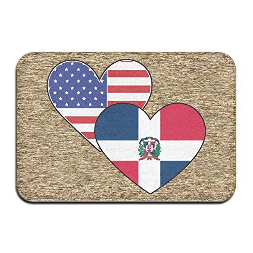 tyui7 Decoración Antideslizante Felpudo de Bienvenida 23.6 x 15.7 Pulgadas, República Dominicana Banderas de corazón de América Felpudo para Interiores al Aire Libre, fácil de Limpiar