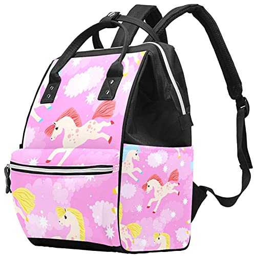 Yuelai Borsa per pannolini Zaino Zaino per laptop Zaino da viaggio per donna, Dipinto con unicorno Colorato Dream Cloud Pink