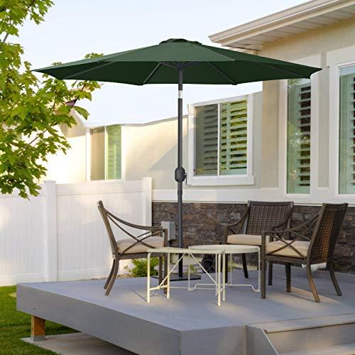 MasterCanopy 270cm Sonnenschirm Fe-Al Market Tischschirm im Freien mit 8 stabilen Rippen,dunkelgrün