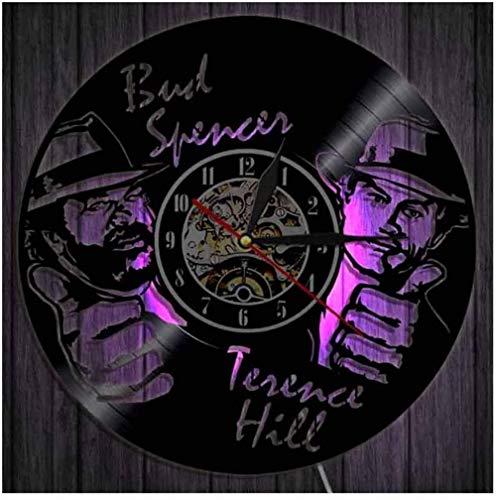 Wanduhr Aus Vinyl Schallplattenuhr LED Uhr Muster Mit Bud Spencer Terence Hill 3D Design Familien Deko Kunst Geschenk 7 Farben Mit Fernbedienung Stille Uhren 30Cm/12In