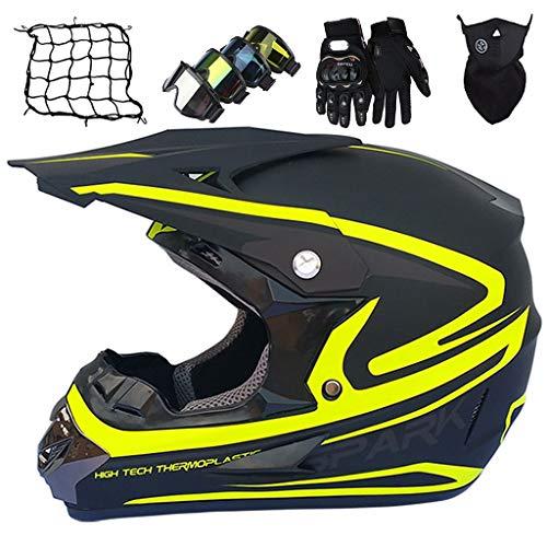 Casco de Motocross, MJH-01 Niños Motocross Dirt Bike Off Road Juego de Cascos de Motocicleta Casco MTB de Cara Completa para Adultos con Gafas/Guantes/Máscara/Red de Bungy (5 piezas)
