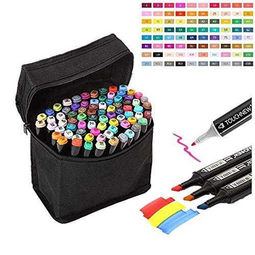 OYD - Rotuladores de colores de punta doble, punta ancha y fina, con bolsa negra Marcador estudiantil 40