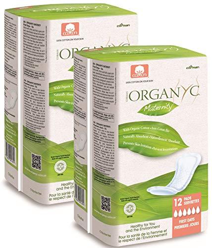 Organyc Lot de 2 packs de 12 serviettes hygiéniques de maternité en coton biologique
