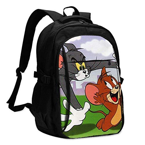 VJSDIUD Tom Jerry Cartoon Anime Cat Mouse Mochila clásica Mochila escolar para ordenador portátil Mochila escolar con puerto USB Escuchar canciones y cargar 18 pulgadas