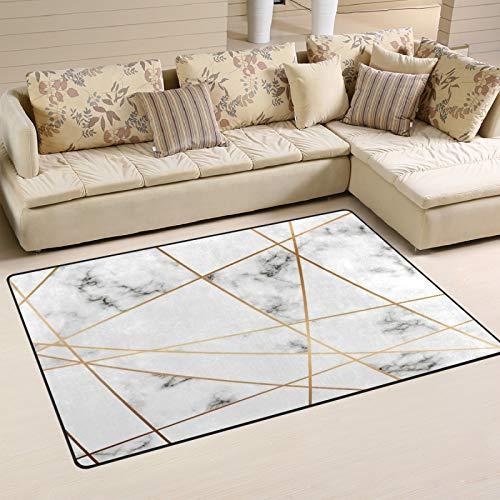 Emoya Alfombra moderna de mármol, línea dorada, antideslizante, lavable, rectangular, para sala de estar, dormitorio, baño, cocina, alfombra suave para decoración del hogar, 99 x 152 cm