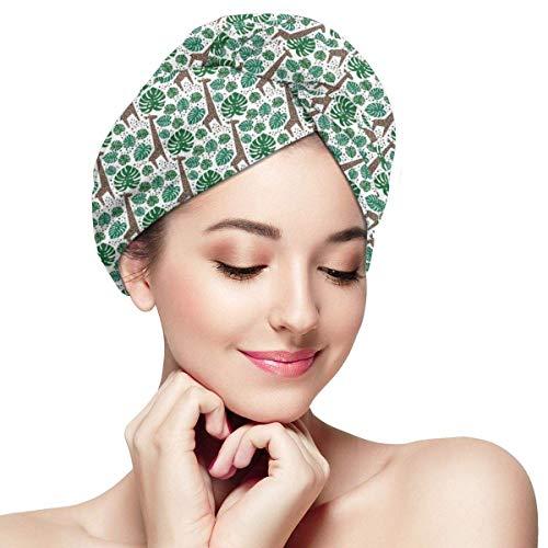 HomeLEE Serviette à Cheveux à séchage Rapide Turban avec Motifs Animaux africains avec Feuilles de Palmier Vert et Points Marrons, Bonnet de Douche Absorbant