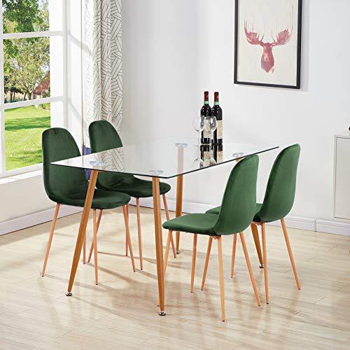 GOLDFAN - Mesa de comedor de cristal con 4 sillas, mesa de cristal y 4 sillas de tela verde para salón y terciopelo, moderna