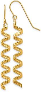 14k Yellow Gold Spiral Drop Dangle Chandelier Earrings Fine Jewelry Gifts For Women For Her