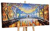 YS-Art | Cuadro Pintado a Mano Romance de otoño | Cuadro Moderno acrilico | 120x60 cm | Lienzo Pintado a Mano | Cuadros Dormitories | único | Anaranjado