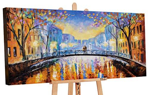 YS-Art | Acryl Gemälde Herbst Romanze | Handgemalte Leinwand Bilder | 120x60cm | Wandbild Acrylgemälde | Moderne Kunst | Leinwand | Unikat | Orange