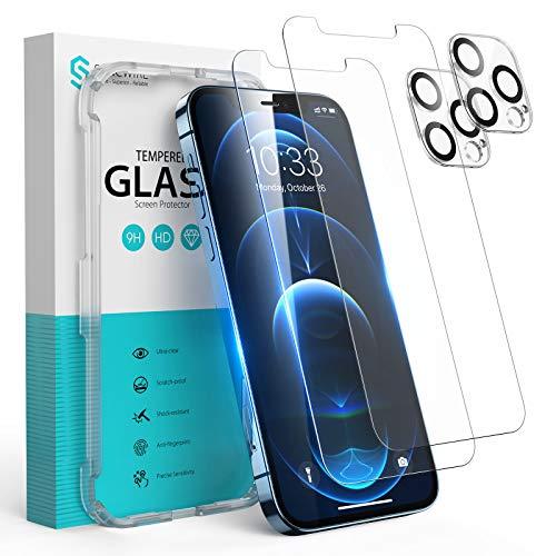 Syncwire Panzerglas für iPhone 12 Pro Max, 2 Bildschirm Folie und 2 Kamera Schutzfolie aus Bruchsicher Hartglas, Panzerfolie (3D Touch, 9H, HD, Kratzfest, Blasenfrei, Anti-Oil, Rahmen) - 6.7 Zoll