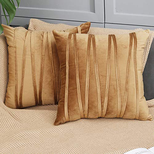 Anilmomo velvet Cushion covers Decorative striped pillow cases for sofa coach square pillowcases Living room Throw pillow covers brown cushion for sofaBedroom car set of 2 covers 18X18 inch (Brown)