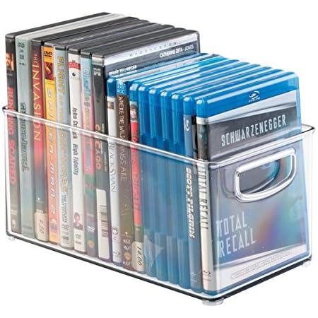 mDesign DVD boîte de rangement – meuble de rangement DVD avec prise – en plastique transparent – boîte pour le stockage des DVD, CD et jeux vidéo – 25,4 cm x 15,25 cm x 12,7 cm