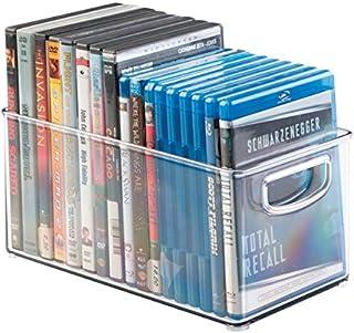 mDesign DVD boîte de rangement – meuble de rangement DVD avec prise – en plastique transparent – boîte pour le stockage de...