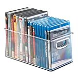 mDesign Porta DVD, CD y videojuegos – Sistema de almacenaje de películas, series, música o juegos de consola – Cajas para DVD de plástico transparente – 25,4 cm x 15,25 cm x 12,7 cm