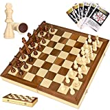iBaseToy 38 X 38CM Folding Wooden Chess Set with 60 Game Rules Cards, Traditional Games for Adults Kids Beginners - Foldable Board
