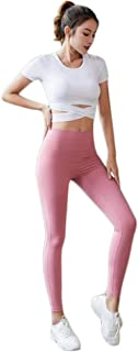 XFKLJ Sports Bra Yoga Pants Women Yoga Set Yoga Suit Seamless Fitness Sports Suits Gym Clothing Short Sleeve T-Shirts High...