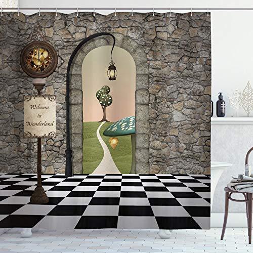"Ambesonne Alice in Wonderland Shower Curtain, Welcome Wonderland Black and White Floor Landscape Mushroom Lantern, Cloth Fabric Bathroom Decor Set with Hooks, 70"" Long, Multicolor"