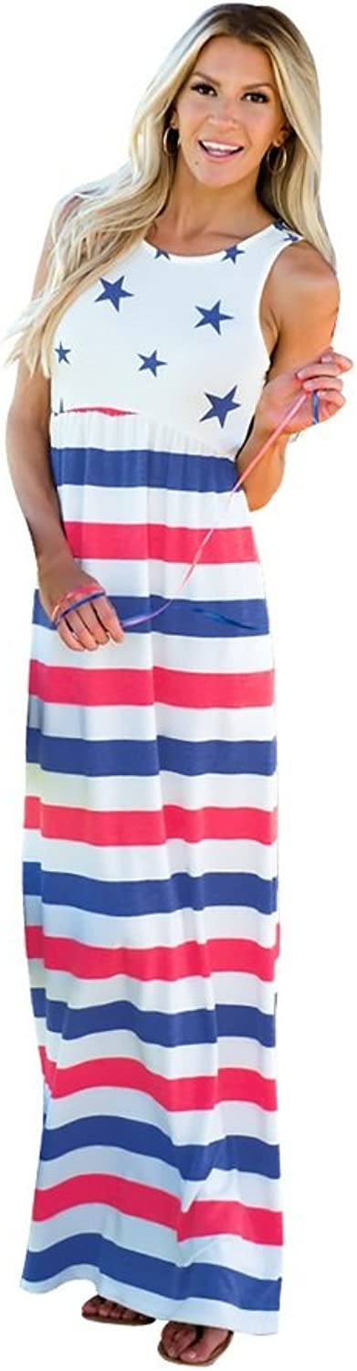 FXFAN Women Dress Star Pattern Patchwork Striped Waist Skirt Sleeveless Dress ZYXCC