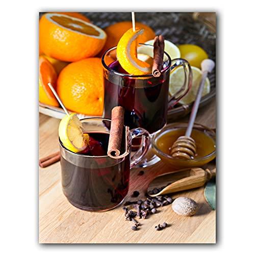 JFGJF Cartel de Pintura en Lienzo de cóctel de Vino de Fruta Naranja, Imagen artística de Pared Moderna, decoración del hogar, habitación de Cocina, 20X28 Pulgadas sin Marco