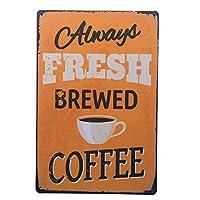 Brewed Coffee 注意看板メタル安全標識注意マー表示パネル金属板のブリキ看板情報サイン