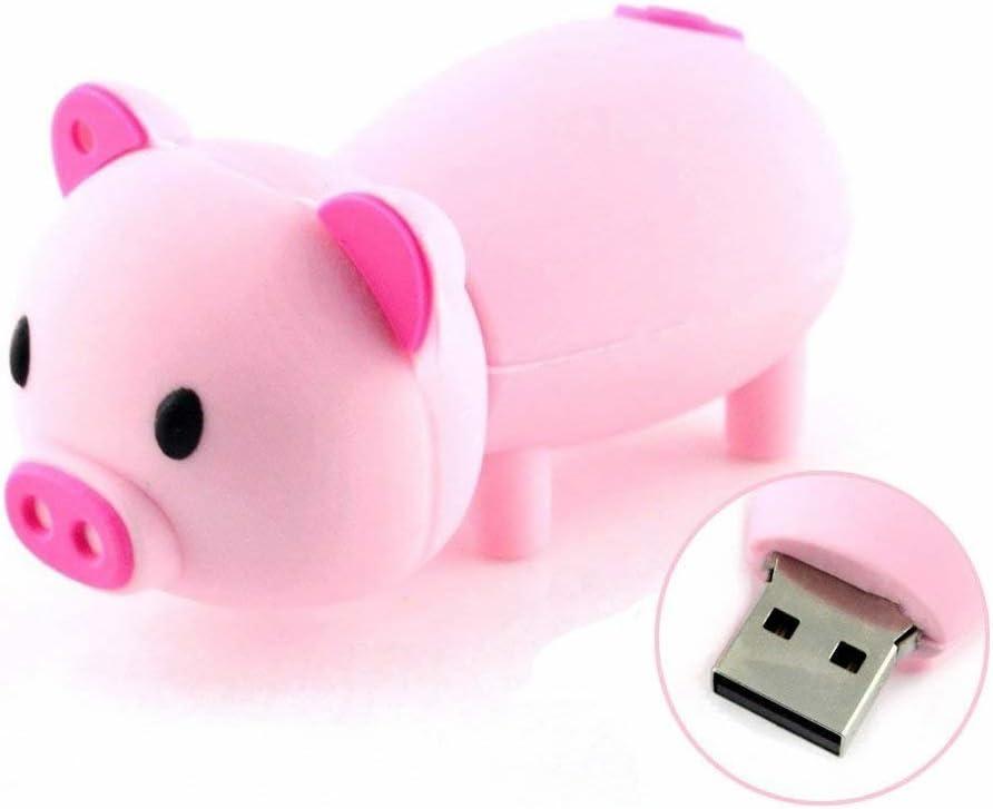 Novelty Pink Piggy Shape Design 16GB USB 2.0 Flash Drive Cute Memory Stick Thumb Drive Data Storage Pendrive Cartoon Jump Drive Gift