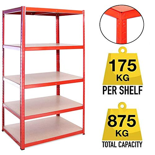 Garage Racking 5 Tier Shelving Unit Boltless Heavy Duty Metal Shelf Shed Storage 150x70 x 30 cm 175kg per Shelf,875kgs Capacity Garage shed Storage Shelving