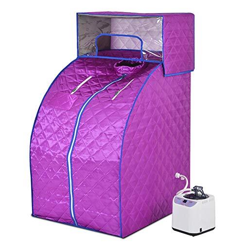 ZFF Portátil Sauna De Vapor con Capucha, Casa Sauna Personal SPA Inalámbrico Control Remoto Y Electrónicamente Revisado Vapor Caldera 2L (Color : Purple)