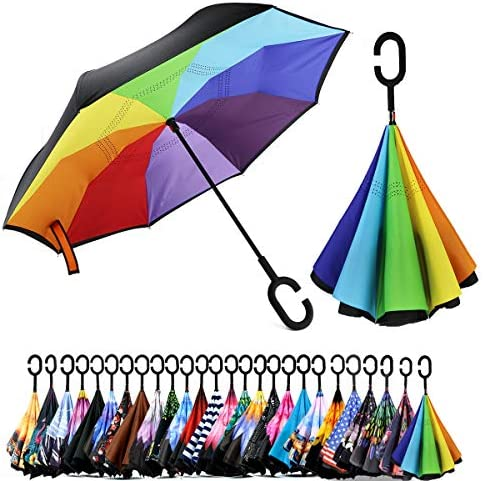 Spar Saa Double Layer Inverted Umbrella with C Shaped Handle Anti UV Waterproof Windproof Straight product image