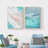 ボートオーシャンウェーブオーバーヘッド画像ネイチャースカンジナビアポスター北欧装飾サンディビーチバスプリントウォールアートキャンバス絵画-50x70cmx2フレームなし