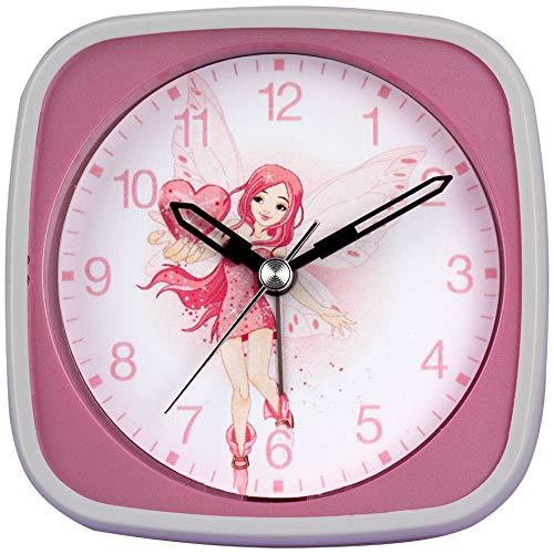 Kinderquarzwecker – Farbenfrohe Motive – Schleichende Sekunde ermöglicht den Kleinsten einen ungestörten Schlaf – Inkl. LICHT und WECKWIEDERHOLUNG (Pink/Fee/Herz)