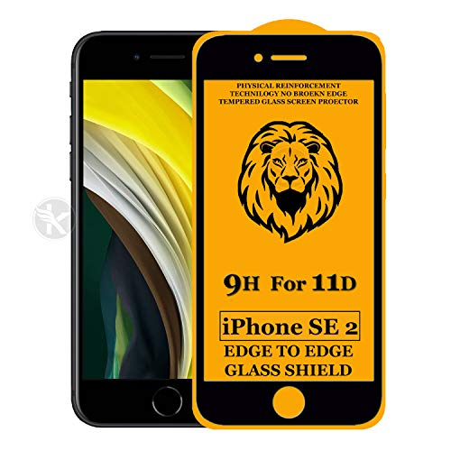 Kreatick 11D Edge to Edge Tempered Glass Screen Protector Compatible with Apple iPhone Se 2(2020) [Pack of 1] Without Installation kit (Black)