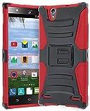 ZTE Lever Z936L Phone Case, Bastex Hybrid Soft Red Silicone Cover Hard Black Holster Kickstand Case for ZTE Lever S936L