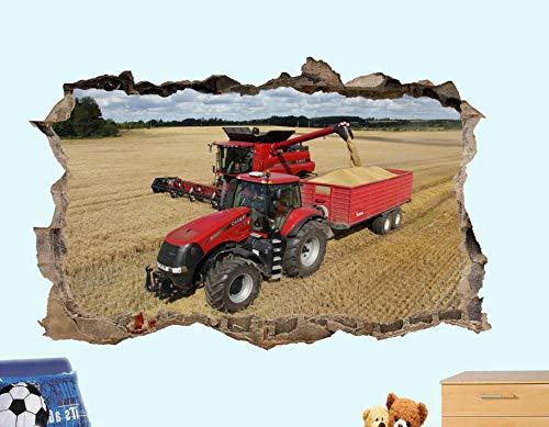 Yxsnow 3D Pegatinas de pared Tractor cosechadora Extraíble Agujero en la pared Vinilo Decorativo Pegatinas Vista de Efecto Adhesivos De Pared