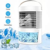 Berfeew Air Conditioner Portable,Mini Air Conditioner,Personal Air Cooler,Mini AC with 7 Colors Night Light,Fans for Bedroom,Office,Home,White