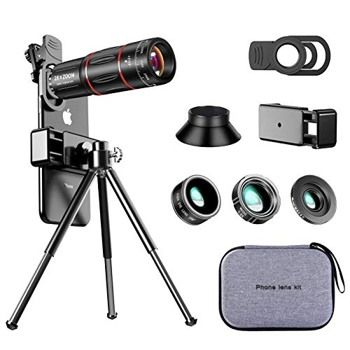 iPhone Camera Lens Kit, 4 in 1 Upgraded 28X Telephoto Lens, 4K HD 0.6X Wide Angle Lens (20X Separable Macro Portion), 198° Fisheye Lens, Phone Tripod, Cell Phone Lens As Tech Gifts for Men