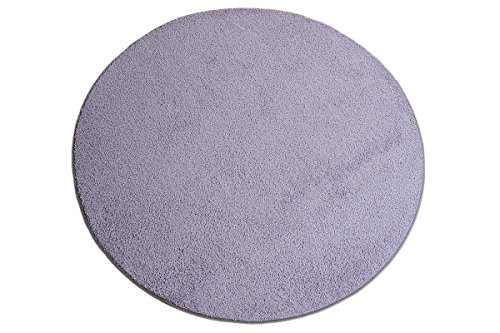havatex Hochflor Shaggy Teppich Pulpo rund - schadstoffgeprüft pflegeleicht | schmutzresistent robust strapazierfähig | Wohnzimmer Schlafzimmer, Farbe:Flieder, Größe:100 cm rund