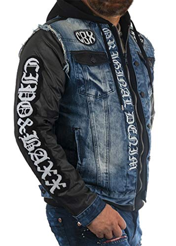 Cipo & Baxx Herren Jeansjacke Denim Kapuzenjacke Stickerei Kunstleder Rockig Bikerjacke Übergangsjacke Blau XXL