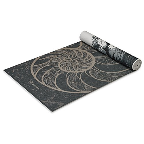 Gaiam Yoga Mat Premium Print Reversible Extra Thick Non Slip Exercise & Fitness Mat for All Types of Yoga, Pilates & Floor Workouts, Spiral Motion, 6mm