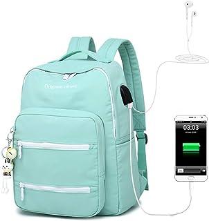 Solid Color School Bag School Backpack Multifunctional Business Bag Suitable for School/College/Men/Women QDDSP (Color : Blue)