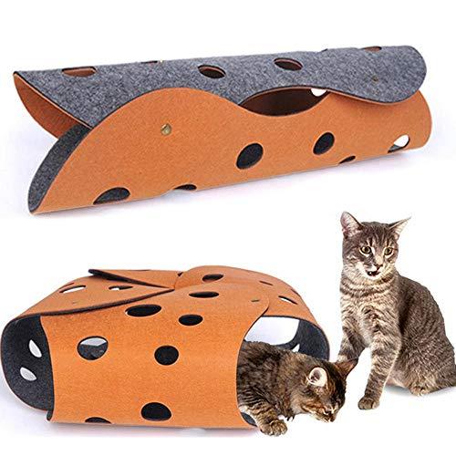 FOONEE Spielmatte für Haustiere, interaktiver Tunnel, Spielteppich, Spielzeug, Katzentunnel, für drinnen und draußen, Filzstoff, zusammenklappbar, für Katzen, Spielzelt, Labyrinth und Katze