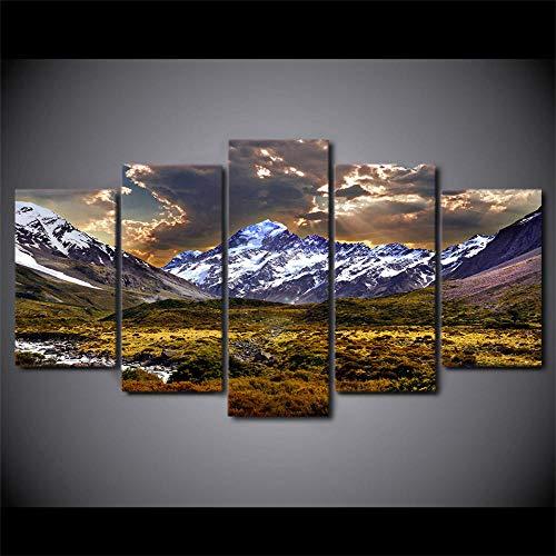 nobrand schilderij canvas muurkunst afbeelding huis decoratie 5 stuks hemel ijs berg grasland natuurlandschap voor woonkamer poster -20x30_20x40_20x50cm_No_Frame