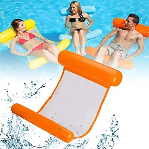 COWINN Cama inflable, hamaca de agua 4 en 1, tumbona para piscina, tumbona de aire, colchoneta hinchable para piscina, hamaca, color naranja