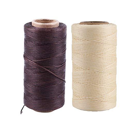 Vrttlkkfe 2 piezas de 260 m 150D 1 mm de cuero encerado hilo de aguja de mano para manualidades, color crema y marrón oscuro