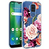 Osophter for Cricket Influence Case AT&T Maestro Plus Case Flower Floral for Girls Women Shock-Absorption Flexible TPU Rubber Cell Phone Cover for Cricket Influence(Purple Flower)