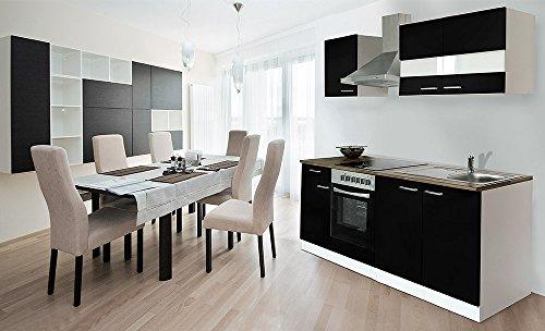 respekta Küche Küchenzeile Einbauküche 210 cm Weiß Front Schwarz CERAN KB210WSC